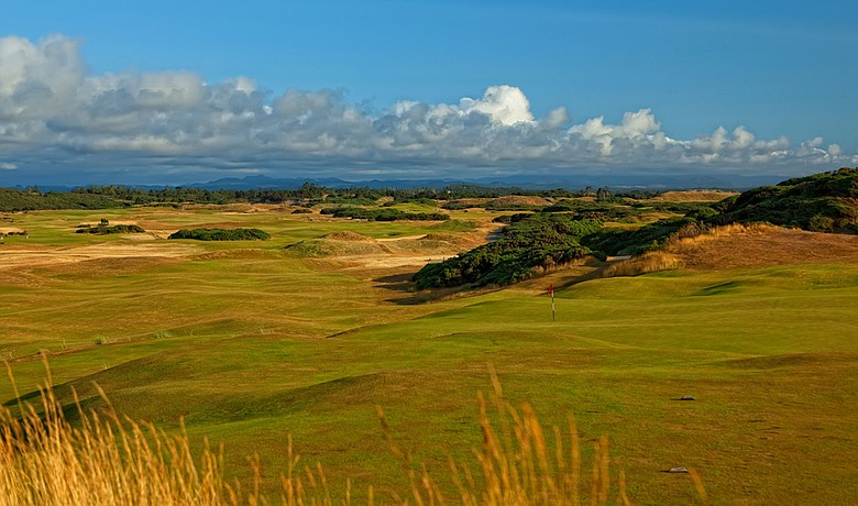 Old Macdonald's seventh hole utilizes a huge dune overlooking the Pacific.