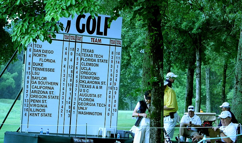 The team leaderboard during the second round of the NCAA Championship.
