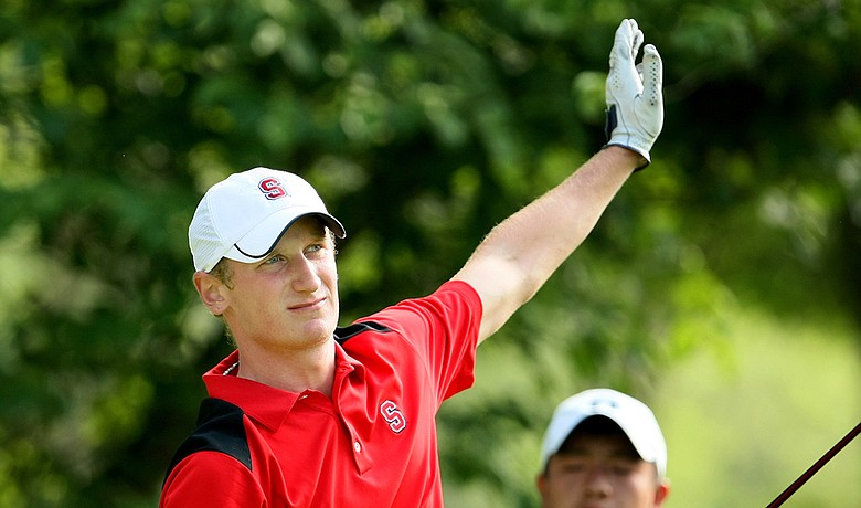 Stanford's Steve Ziegler signals after hitting his tee shot at No. 10 left at The Honors Course on Wednesday.