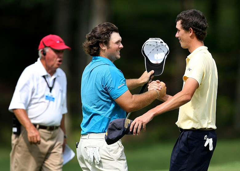 Augusta State's Patrick Reed and Georgia Tech's Chesson Hadley shake hands at the conclusion of their match Friday.
