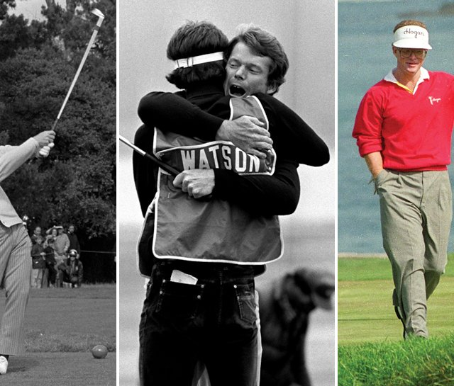 (Left to right) Jack Nicklaus' 1-iron at No. 17 struck the flagstick in 1972; Tom Watson and caddie Bruce Edwards celebrate in 1982; Tom Kite triumphs in 1992.