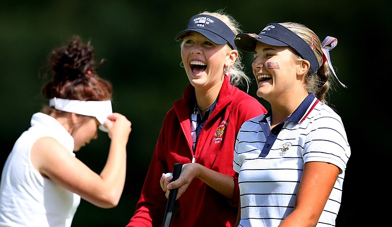 Jessica Korda (left) and Alexis Thompson during the morning foursomes Friday at the Curtis Cup.