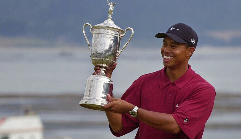 Tiger Woods after winning the 2000 U.S. Open at Pebble Beach.