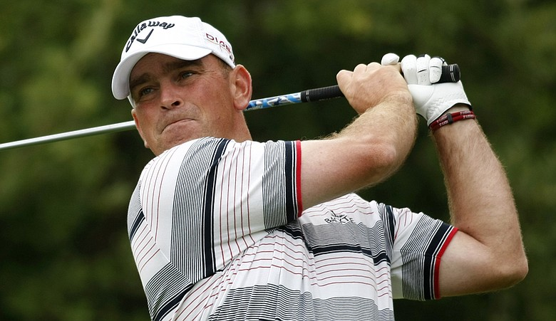 Thomas Bjorn tees off during Round 3 of the Estoril Open.