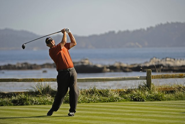 Tom Lehman tees off at the 2009 Walmart First Tee Open at Pebble Beach Golf Links.