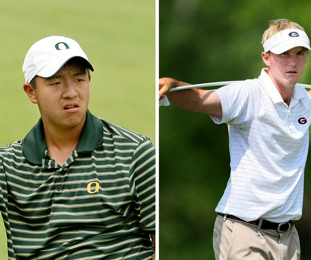 Oregon's Eugene Wong and Georgia's Russell Henley