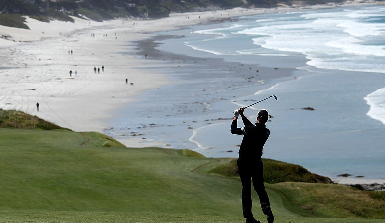 Henrik Stenson during a practice round at Pebble Beach.