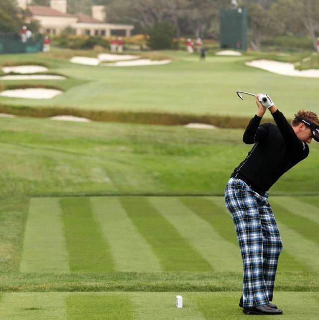 Ian Poulter warms up for the U.S. Open.