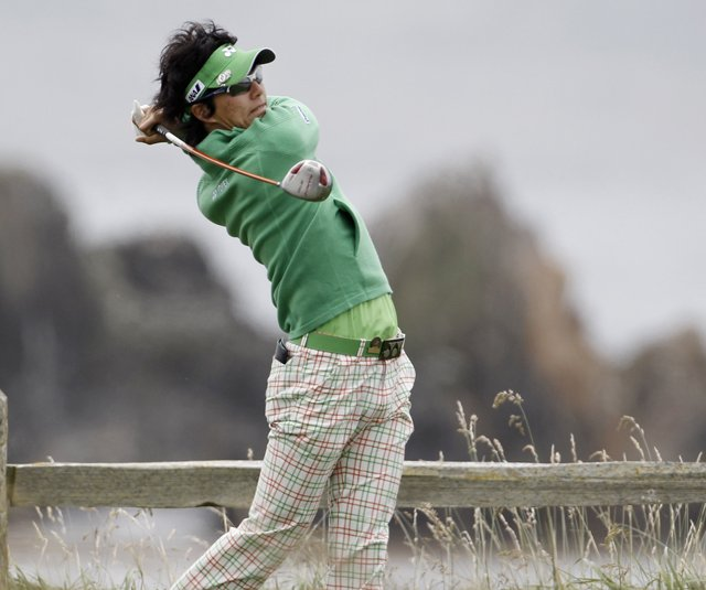 Ryo Ishikawa hits a drive during a practice round at Pebble Beach.