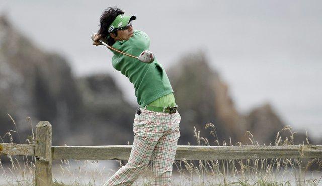 Ryo Ishikawa hits a drive during a practice round at Pebble Beach.