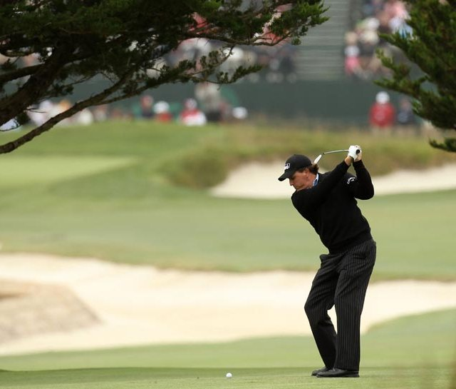 Phil Mickelson on U.S. Open Tuesday at Pebble Beach.