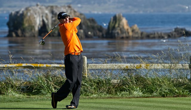 Oklahoma State sophomore Morgan Hoffmann tees off on the 18th hole Thursday at Pebble Beach.