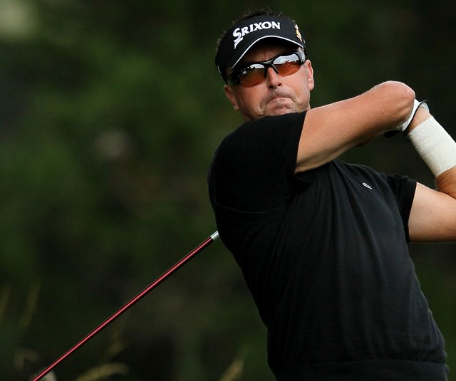 Robert Allenby tees off during the first round of the U.S. Open.