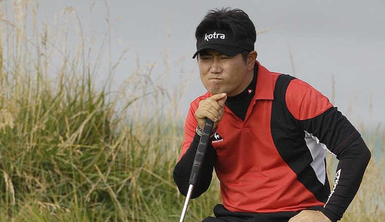 Y.E. Yang reads a putt at the 2010 U.S. Open.