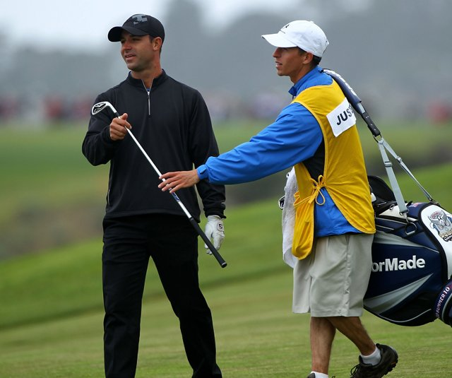 Erick Justesen and caddie Stephen Planchon during the second round of the U.S. Open.