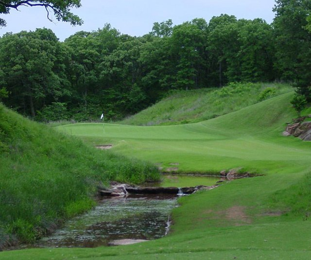 The 11th hole at Karsten Creek Golf Club in Stillwater, Okla.