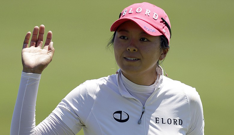 M.J. Hur acknowledges the crowd at the ShopRite LPGA Classic.