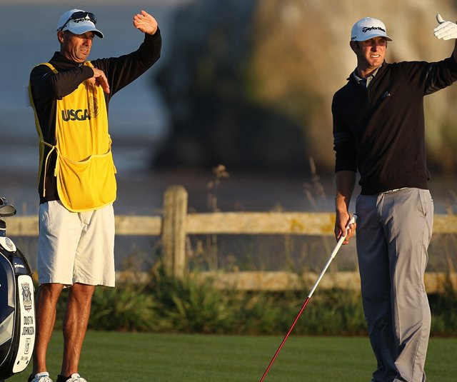 Caddie Bobby Brown and Dustin Johnson on the 18th hole Saturday at Pebble Beach.