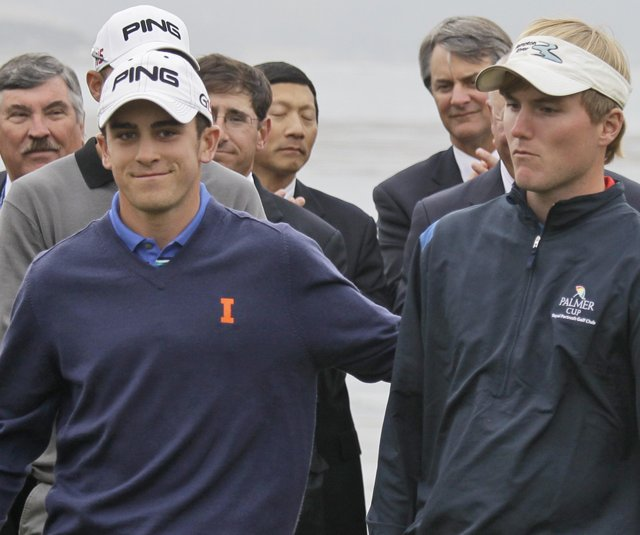 Scott Langley of Illinois, left, and Russell Henley of Georgia tied for low-amateur honors at the U.S. Open at Pebble Beach. 