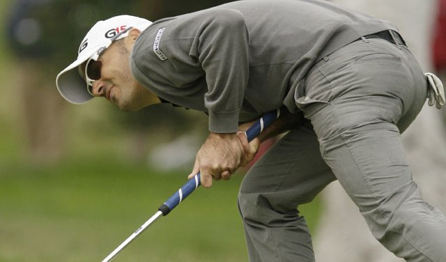 Gregory Havret of France reacts to a missed birdie putt on the 16th hole during the fourth round of the U.S. Open golf tournament Sunday, June 20.