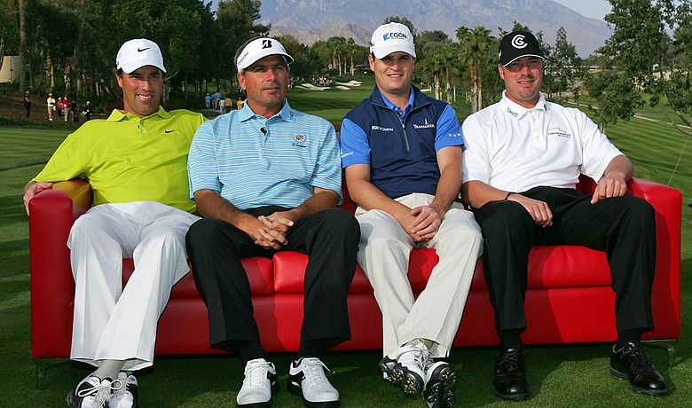 (left to right) Stephen Ames, Fred Couples, Zach Johnson and Brett Wetterich before the start of the final round of the 2007 LG Skins Game.