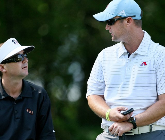 Florida State assistant coach Chris Malloy talks to Augusta State head coach Josh Gregory during the 2010 NCAA Championship. Malloy was named head coach at South Florida on June 29.