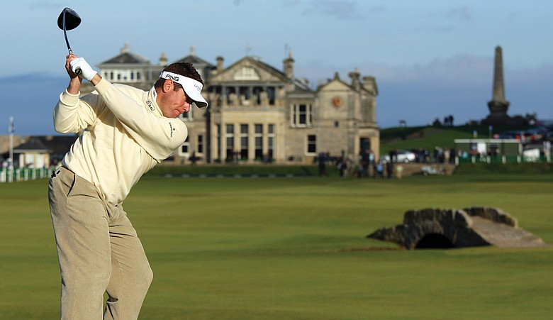 Lee Westwood tees off on the 18th hole at the Old Course during a practice round for The Alfred Dunhill Links Championship in September 2009.