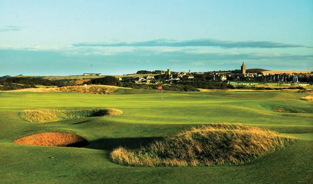 The approach to the green on the par 4, 13th hole 'Hole O'Cross,' which shares it's green with the par 5, 5th hole on the Old Course at St Andrews.