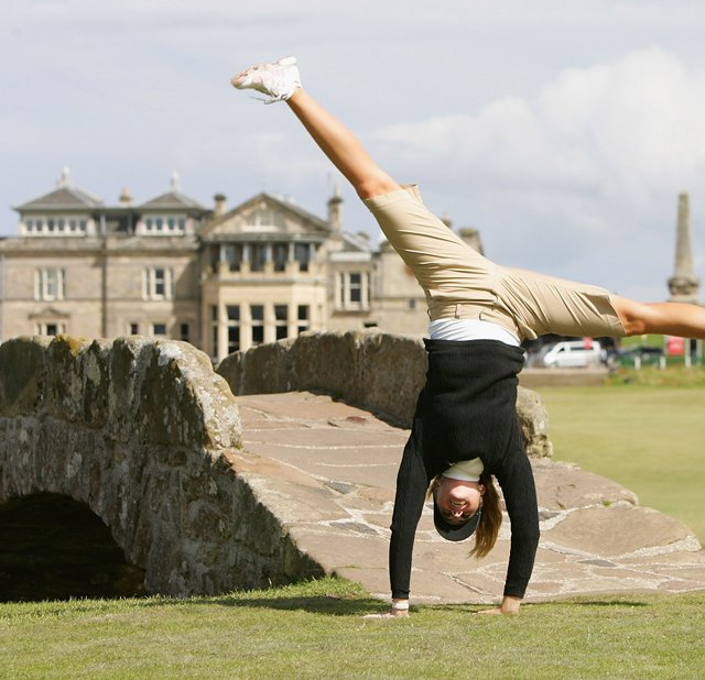 Paula Creamer performs a cartwheel on the 18th fairway during a practice round prior to the 2007 Women's British Open.