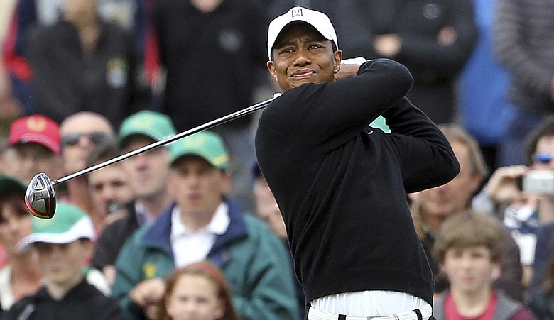 Tiger Woods tees off during J.P. McManus Invitational Pro-Am in Ireland.