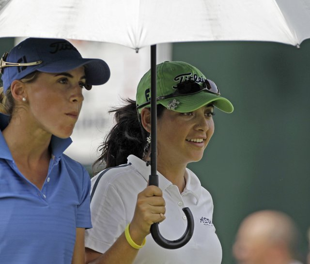 Azahara Munoz (left) during a practice round for the U.S. Women's Open.