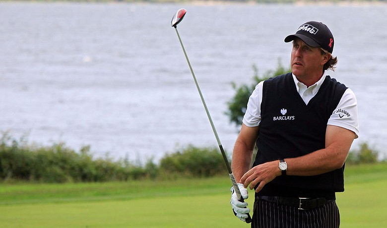 Phil Mickelson watches a shot from the fairway during a Pro-Am prior to The Barclays Scottish Open.