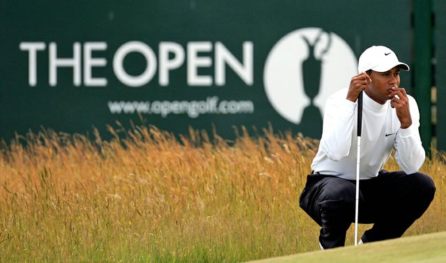 Tiger Woods during the 2005 British Open at St. Andrews.