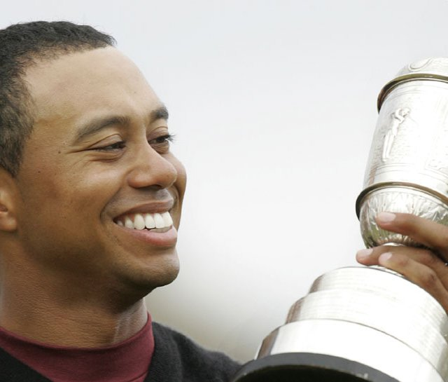 Tiger Woods after winning the 2005 British Open at St. Andrews.