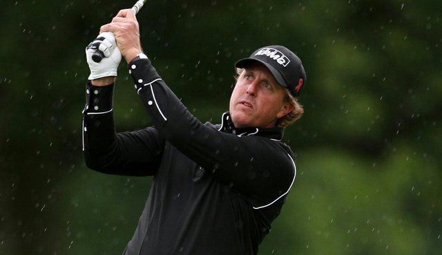 Phil Mickelson hits a shot at the Scottish Open.