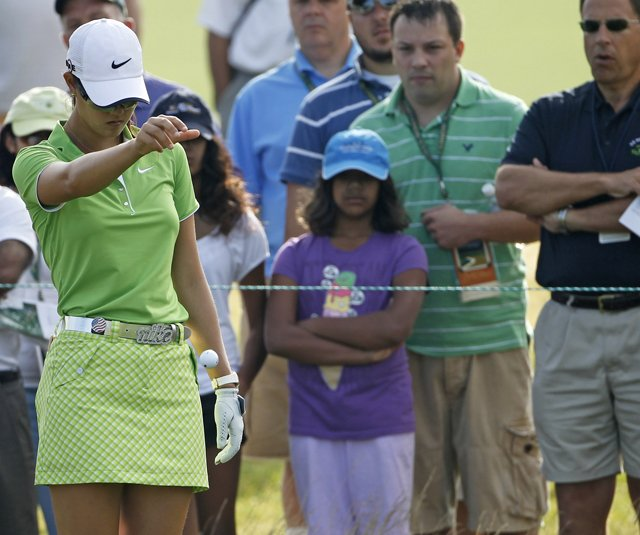Michelle Wie takes a drop during Round 2 of the U.S. Women&#39;s Open. 