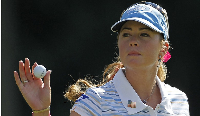 Paula Creamer acknowledges the crowd after the start of her third round at the U.S. Women's Open.