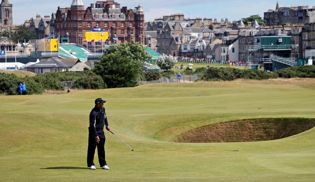 Tiger Woods during a practice round Sunday on the Old Course at St. Andrews.