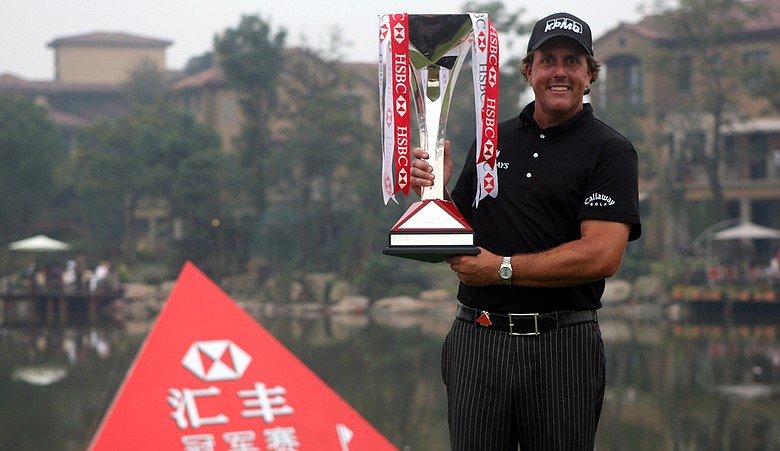 Phil Mickelson after winning the 2009 WGC-HSBC Champions in Shanghai, China.