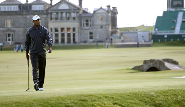 Tiger Woods during a practice round in advance of the British Open at St. Andrews.