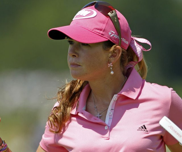 Paula Creamer reacts to a par save during the final round of the U.S. Women&#39;s Open.