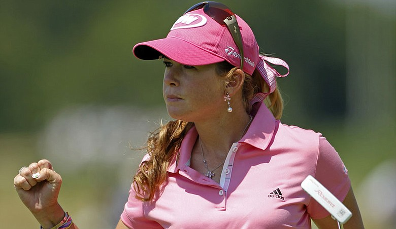 Paula Creamer reacts to a par save during the final round of the U.S. Women's Open.