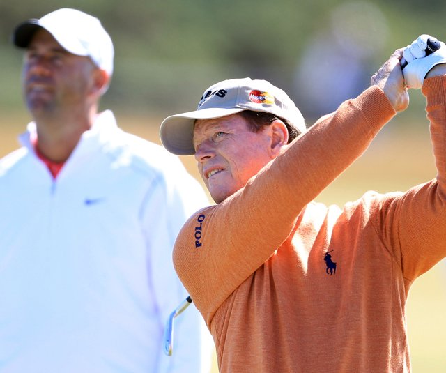Tom Watson and Stewart Cink played a practice round Tuesday at the British Open.