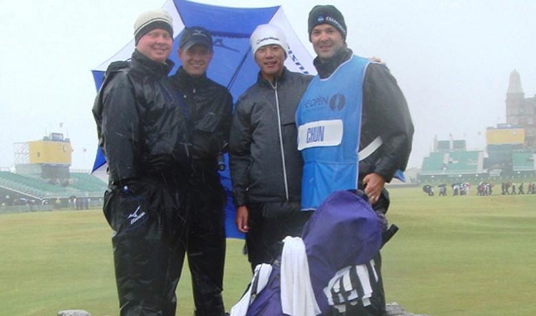 From left to right: Northwestern head coach Pat Goss, former Northwestern star Luke Donald, Eric Chun and Steve Bailey.