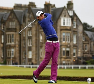 Noh Seung-yul tees-off on the second hole in the opening round at St. Andrews.