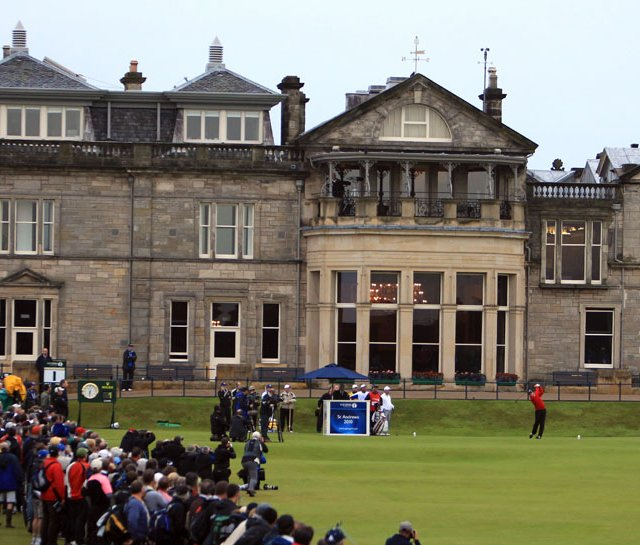 Paul Lawrie hits the opening tee shot of the 2010 British Open.