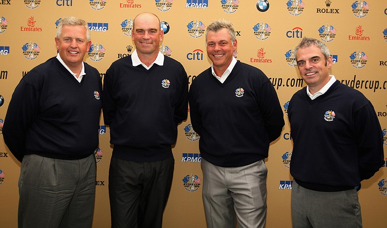 European Ryder Cup Captain Colin Montgomerie poses with Thomas Bjorn, Darren Clarke and Paul McGinley, his newly-appointed vice captains.