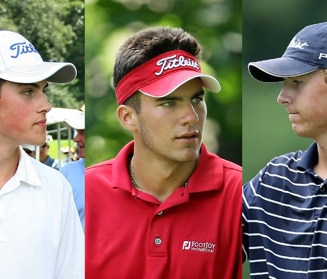 Gavin Hall (left), Curtis Thompson (center) and Jordan Spieth all went low on a rain-soaked Egypt Valley Country Club on Tuesday.