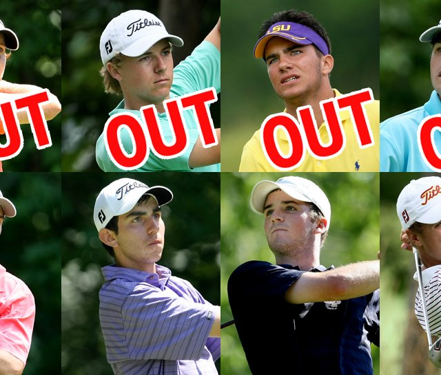 (Above, from left) Emiliano Grillo, Jordan Spieth, Curtis Thompson and Bobby Wyatt were knocked out of the U.S. Junior, while (below, from left) Gavin Hall, Anthony Paolucci, Denny McCarthy and Justin Thomas are moving on.