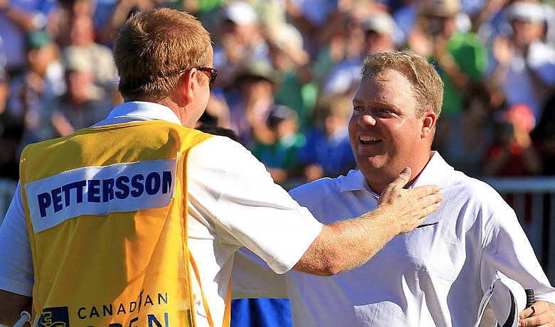 Carl Pettersson celebrates after winning the RBC Canadian Open.
